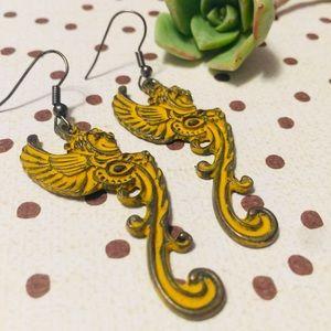 Mustard yellow ochre gargoyle drop earrings